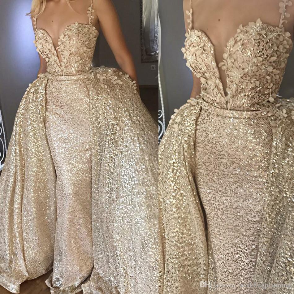 Ouro brilhante Abiye Sereia Longos Vestidos de Noite Com Trem Destacável Flor Rendas Vestidos de Noite De Lantejoulas Vestido Sexy Formal Sem Encosto 2 Peças
