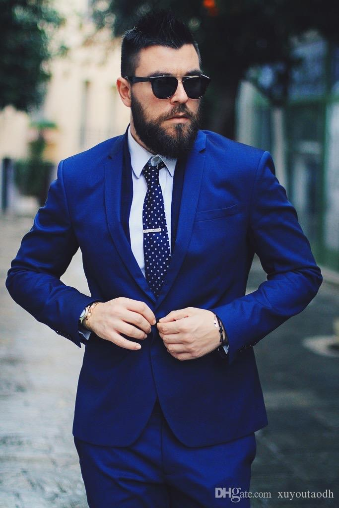 Royal Blue Men Suits Blazer Business Suits Luxury Formal Wedding Suits Bridegroom Tailored Tuxedos Terno Masculino 2 Pieces (Jacket+Pants)