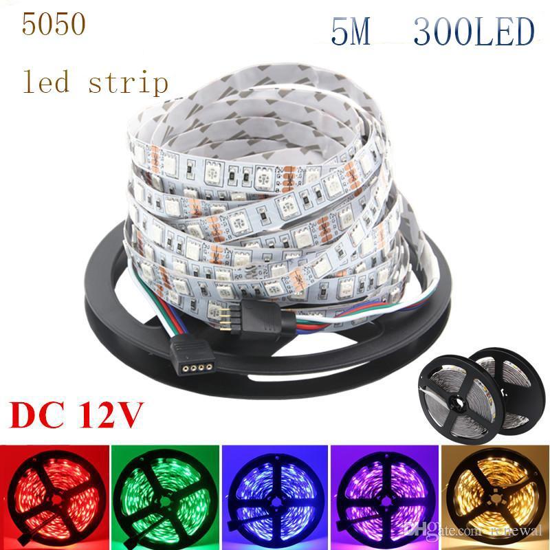 DHL LED Strip Light 12V SMD3528 5050 5630 300Led Strip Nastro impermeabile per la striscia flessibile Home Bar Decor Lampada LED 5m / rotolo RGB