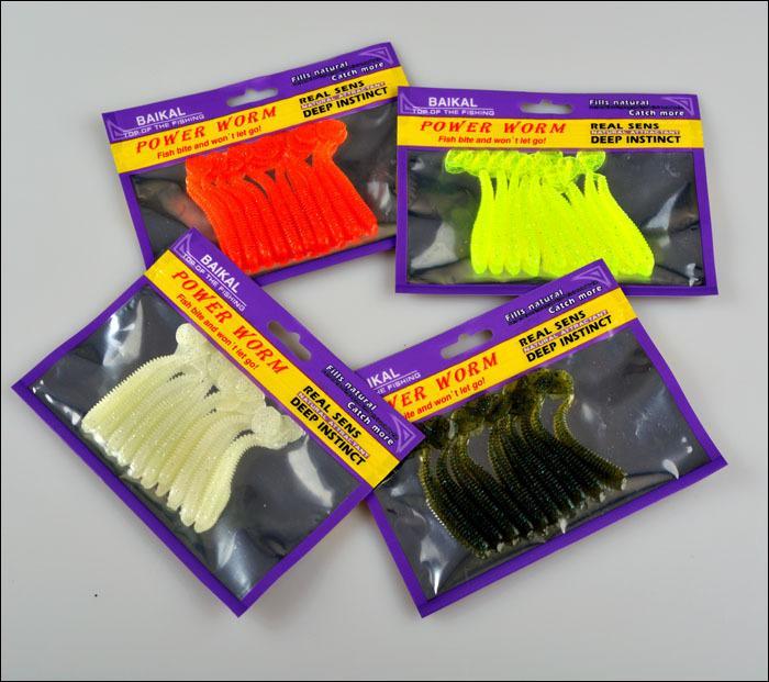 Yeni Gerçekçi Barlar Kauçuk Solucan Tatlısu yemler 7.5 cm 2g 4 renkler simülasyon içgüdü yem sopalar lure 6 adet / grup