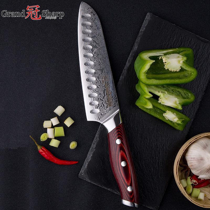 7 Pulgadas 67 Capas de Acero Damasco Japonés Santoku Sushi Sashimi Chef Cuchillo VG-10 Cuchillo de Cocina de Acero Damasco con Caja de Regalo