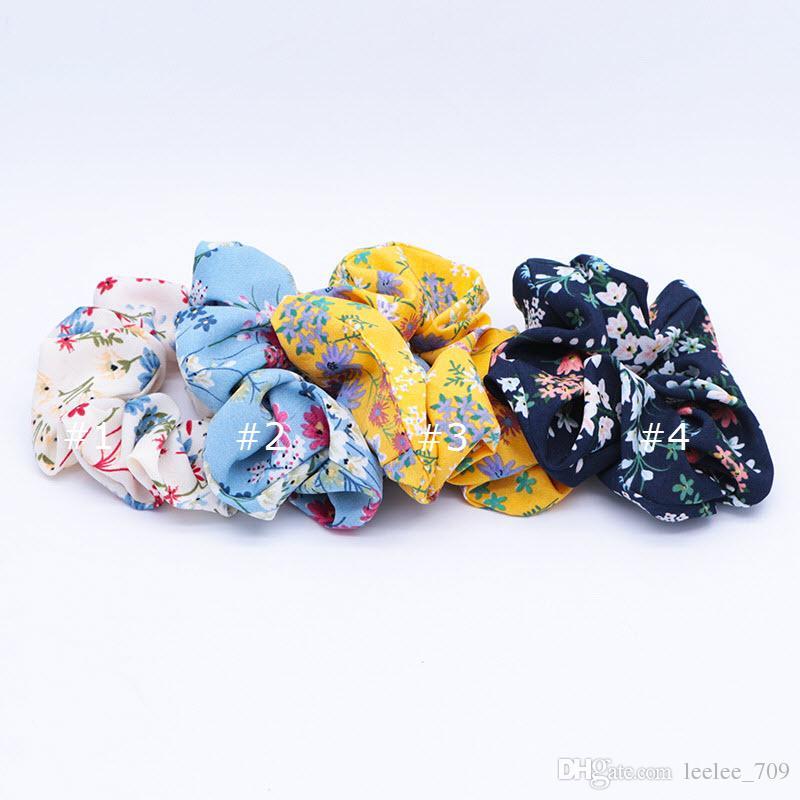 4 색 여성 여자 빈티지 블루 꽃 무늬 천으로 탄성 링 헤어 넥타이 액세서리 포니 테일 홀더 머리띠 고무 밴드 크런치 장미