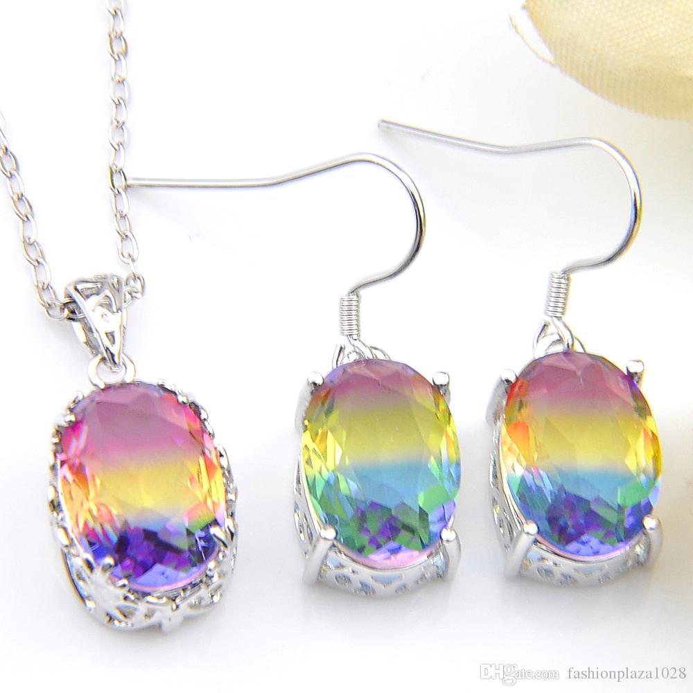 Fortunato lustro classico di modo Donne set di gioielli ovale bi colorato Tourmaline 925 collana in argento zircone orecchini di pendenti regalo