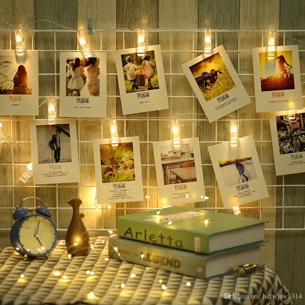 1M 10LEDs 2M 20LEDs Photo Card Wall Clip Fairy LED String Light Home Christmas Holiday Decoration Battery Powered Lamps