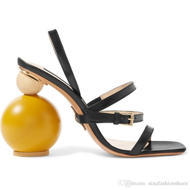 Sommer Asymmetrische Ball Runde High Heel Sandalen Frau Offene spitze Seltsame High Heel Schuhe Frauen Runway Gladiator Sandalen
