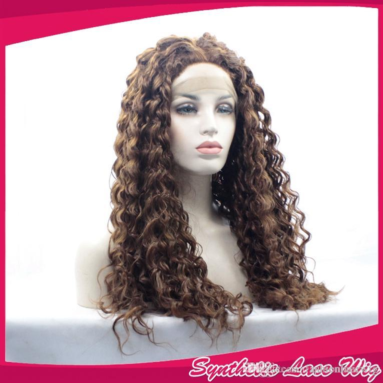 Dark Auburn Color Kinky Curly Lace Front Wigs Glueless with Baby Hair Brown Long Curly Synthetic Lace Front Wig for Black Women