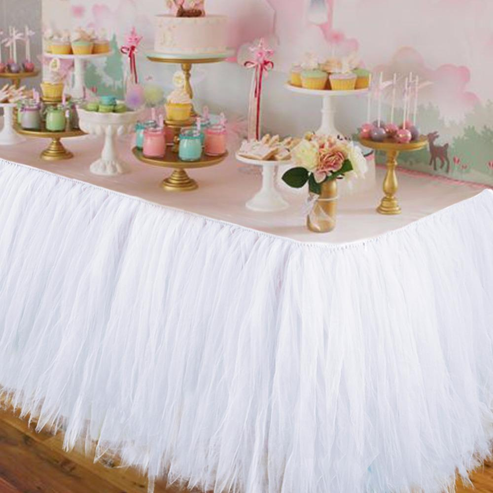 Wedding Party Tulle Tutu Table Skirt Birthday Baby Shower Wedding Table Decorations Diy Craft Supplies Hot Sale 100*80CM