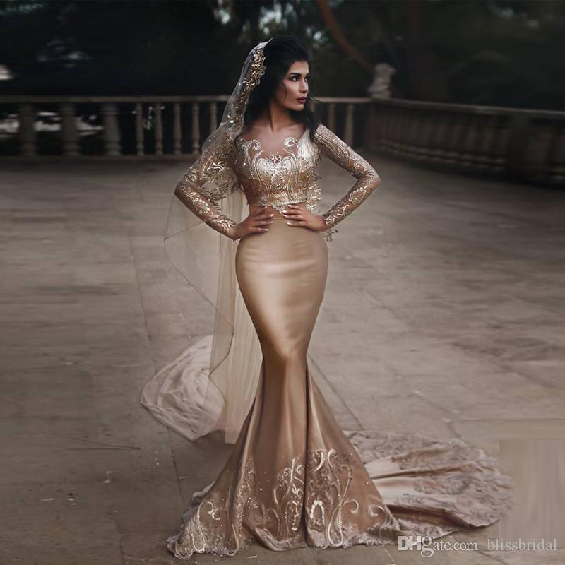 Champagne Long Sleeve Two Pieces Applique Mermaid Wedding Dresses Scoop Neck Sweep Train exceedingly fascinating and charming Bridal Gown