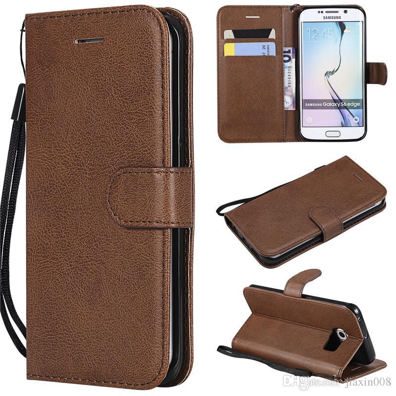 Funda de billetera para Samsung Galaxy S6 Funda con tapa trasera Color puro Cuero de PU Bolsas para teléfonos móviles Coque Fundas para Galaxy S6