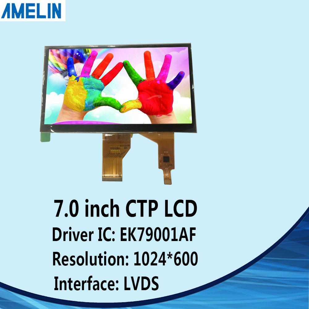 شاشة 7 بوصة 1024 * 600 TFT TN LCD مع لوحة تعمل باللمس بالسعة وشاشة LVDS