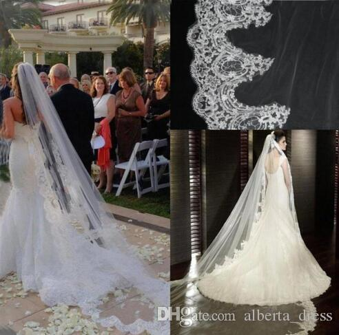 New White / Ivory Lace Wedding Veil Bridal Veil Cathedral Long Arabic Wedding Veils For Cathedral Wedding Dress