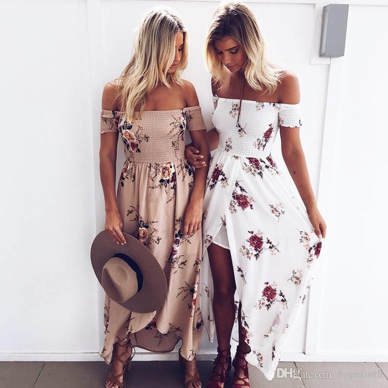 Boho Style Long Dress Plus Size S-5XL Women Off Shoulder Beach Summer Lady Dresses Floral Print Vintage Chiffon White Maxi Dress Vestidos