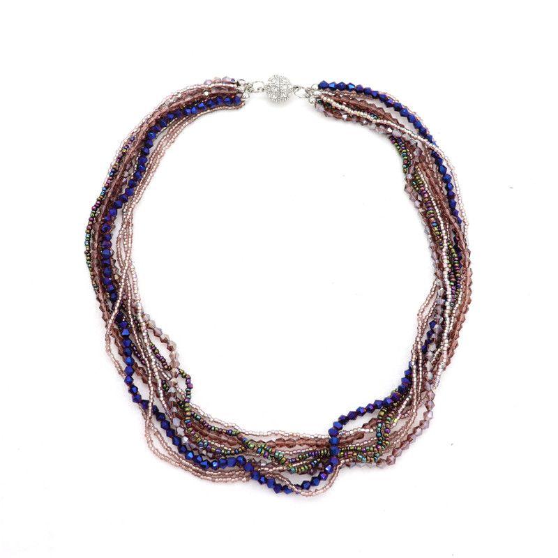 Collana di cristallo a colori multistrato di alta qualità di alta qualità Collana di magnete in metallo Statenebt Collana Donna Accessori da uomo
