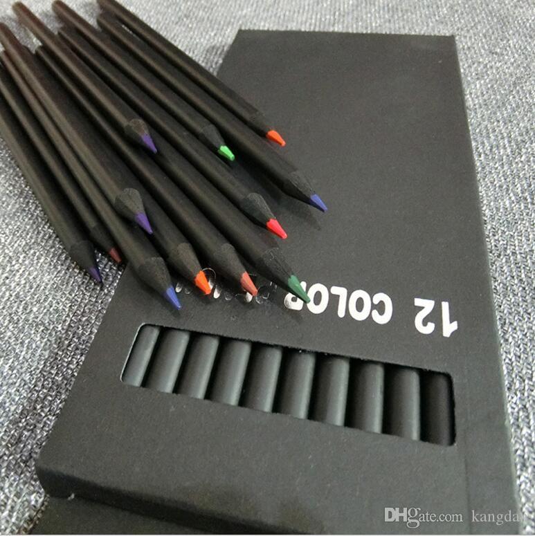 12 cores de madeira Preta de madeira lápis de cor Canetas de chumbo de cor crianças esboço lápis de cor crianças ferramenta de desenho de presente de aniversário do bebê