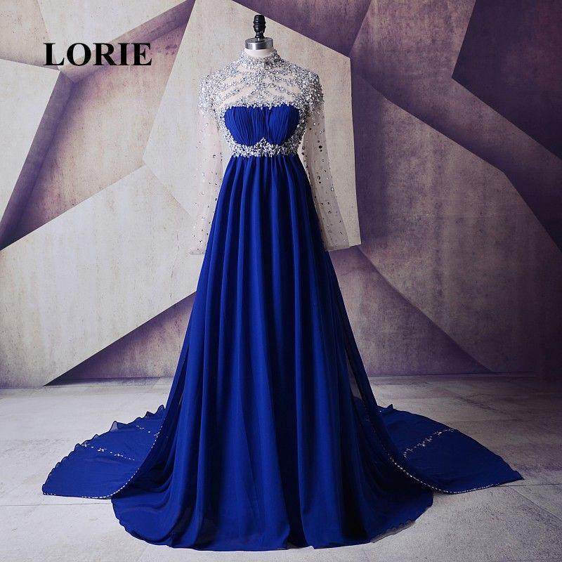Compre Lorie Vestido De Noche Para Embarazadas De Cuello Alto Royal Blue Beaded Chiffon De Manga Larga Vestido De Fiesta De Maternidad Vestidos De