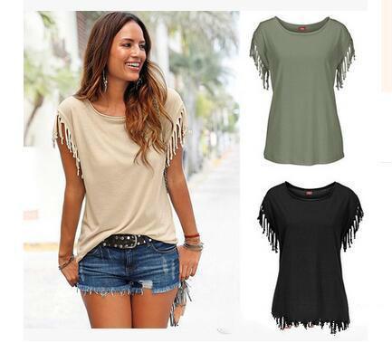 Camiseta de la muchacha ropa de manga corta de las borlas de las camisetas para las camisetas de las mujeres camisas al por mayor del color sólido femenino camisetas para mujer de verano en Europa