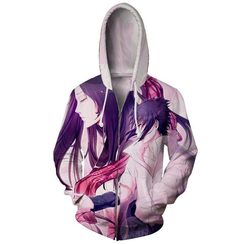 일본의 애니메이션 나루토 사스케 까마귀 후드 티 3D 지퍼 스웨터 맨 남성용 대형 스웨터 남성용 스웨터 옴므 의류