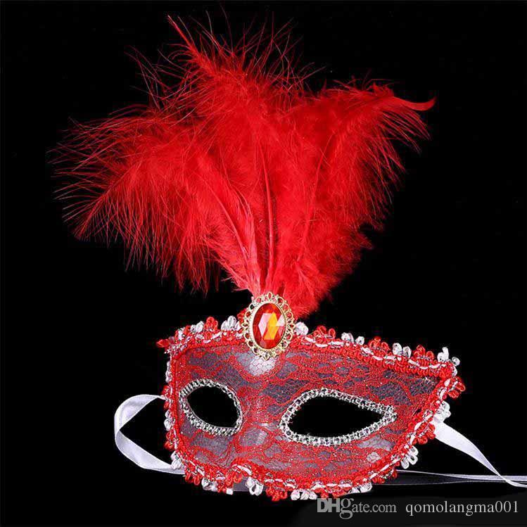 Kadın Kız tüy dantel maske cadılar bayramı partisi maskesi kostüm topu bar masquerade maskeleri hediye cadılar bayramı dekor için dans ...