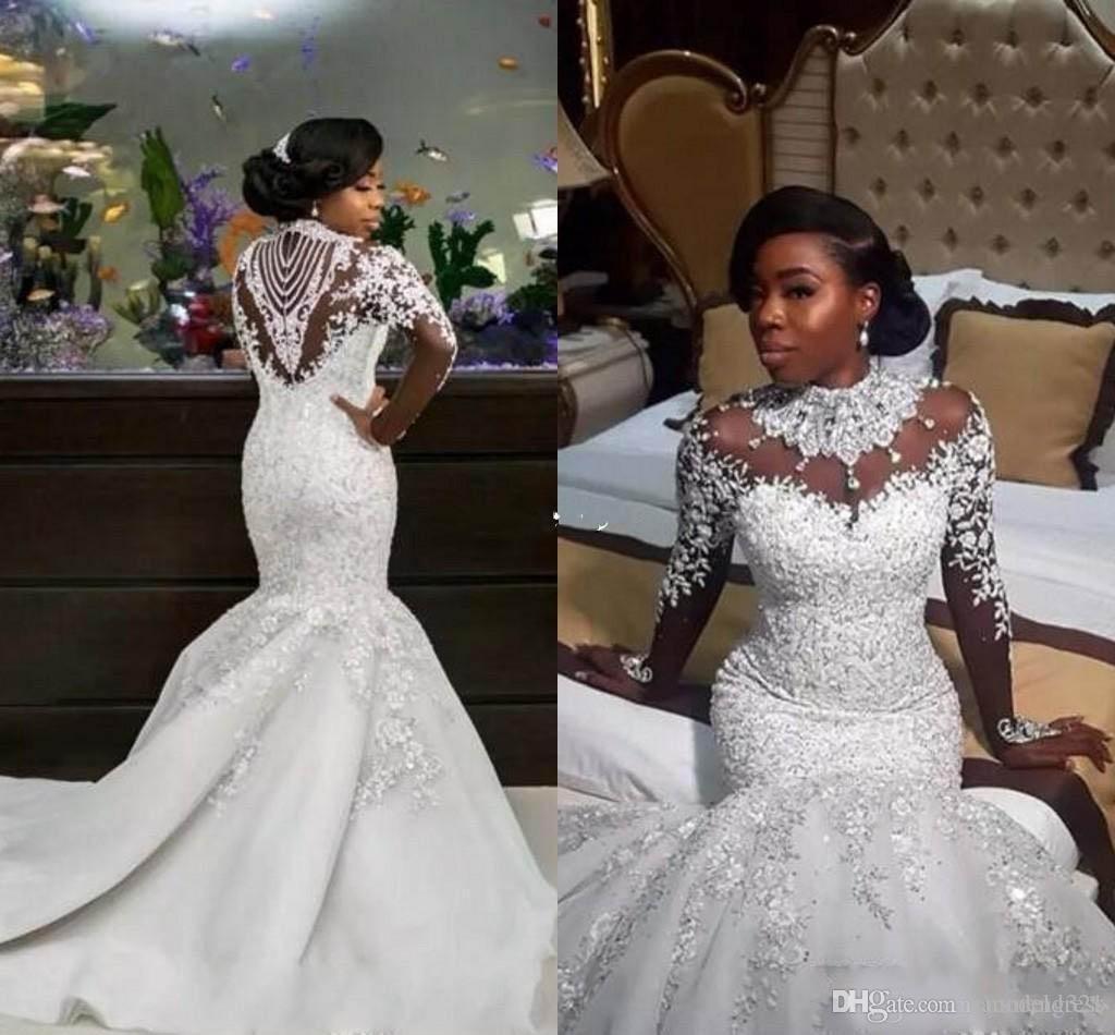 2020 Роскошные Свадебные Платья Русалки Sheer С Длинным Рукавом Высокая Шея Хрустальные Бусины Часовня Поезд Африканские Арабские Свадебные Платья Плюс Размер Индивидуальные