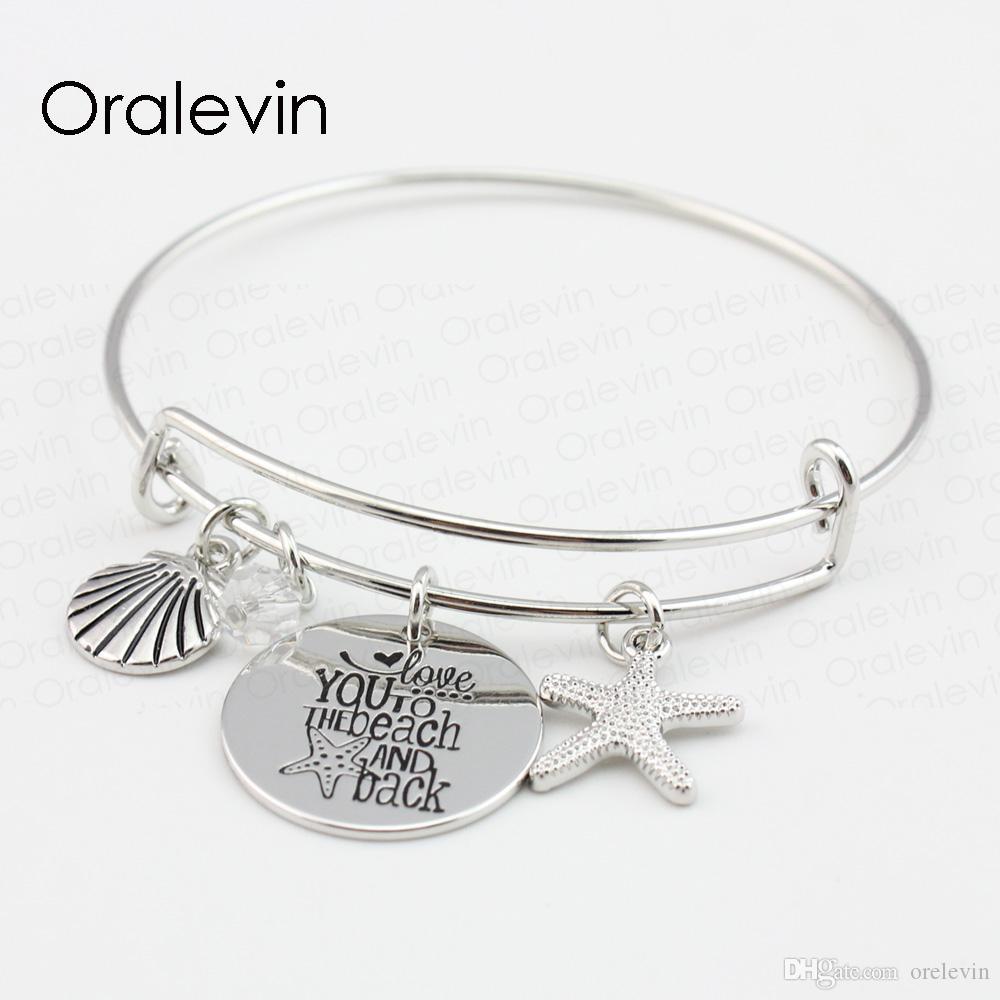 VOUS AIMEZ À LA PLAGE ET AU DOS Shell Starfish Disc Charms Pendentif Bracelet Bracelet Amant Cadeau Pour Enfants Bijoux faits À La Main, 10 Pcs / Lot, # LN102B