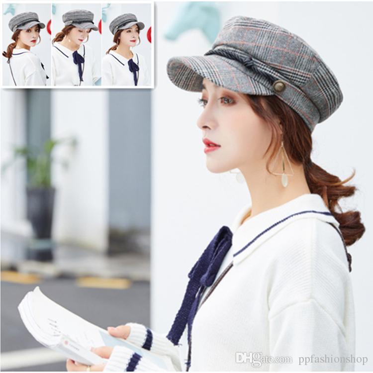 Woolen Nachahmung Cap Beret Cap Octogonal Painter Benn Hut Männer Cap Beret Hüte Winter Hüte für Frauen Vintage Flat Female