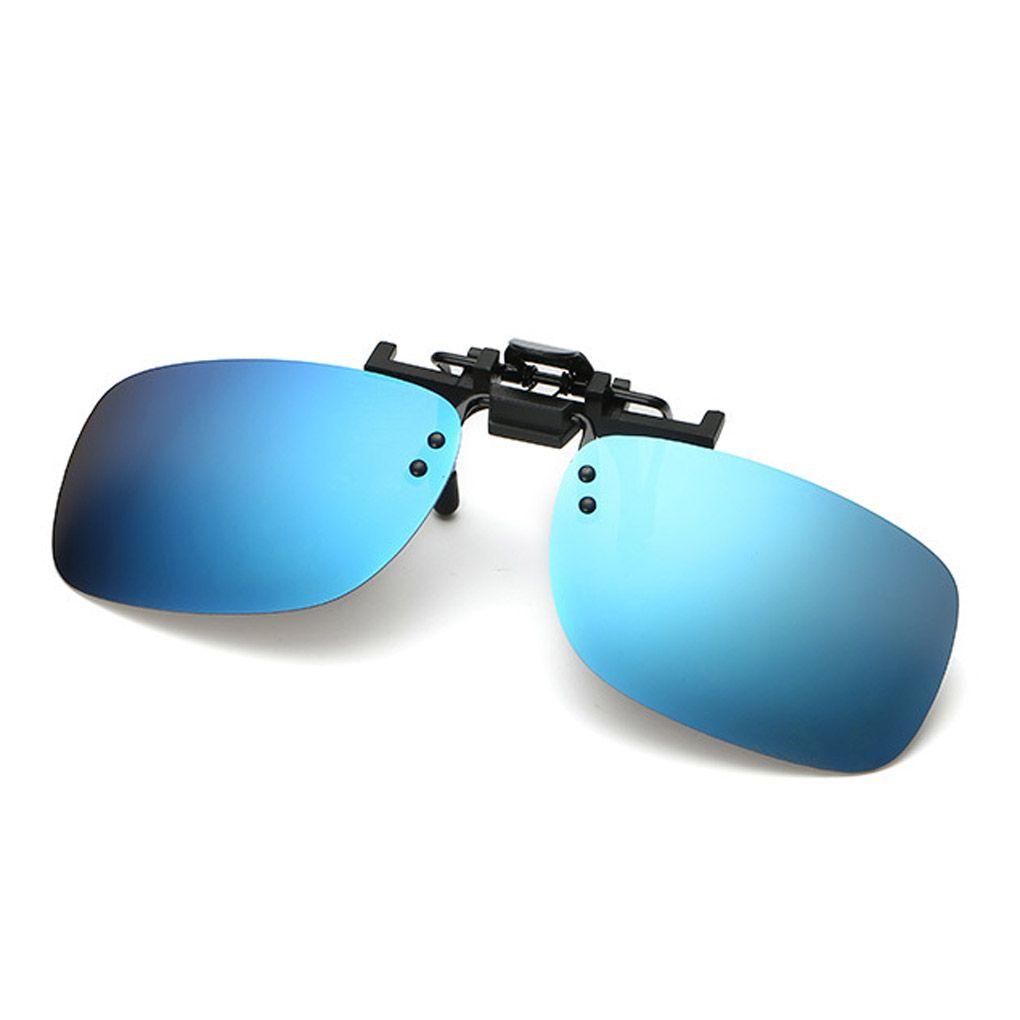 Men Polarized Sunglasses glasses Clip-On Flip Up Metal ClipOutdoor Square