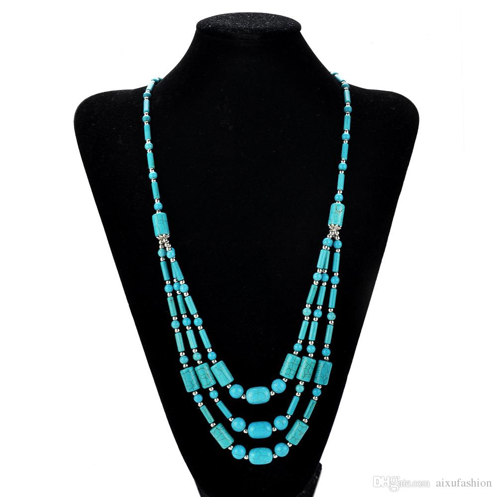 Boho Style Blue Turquoise Stone Beaded Necklace Handmade Three Layers Green Howlite Beads Long Statement Necklaces Jeweley