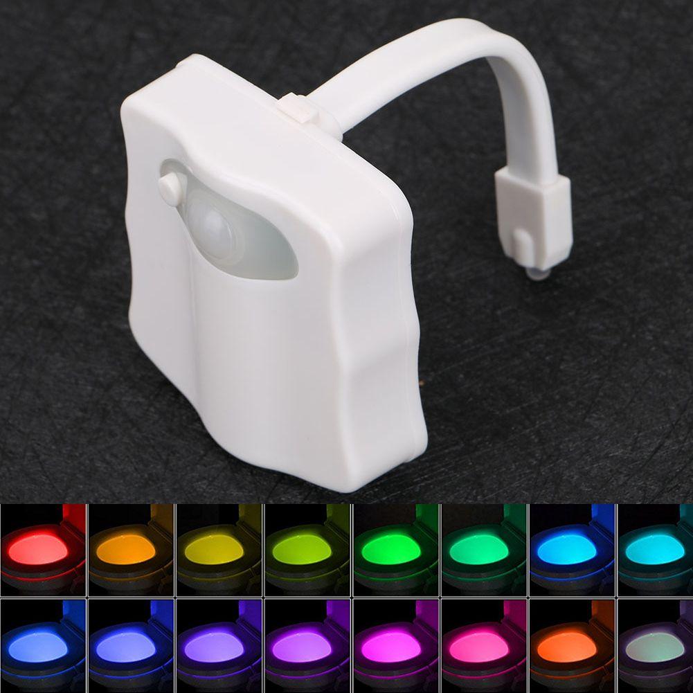 Sensor toilet little night lamp 8 Colors LED Battery-operated Lamp human induction lamp