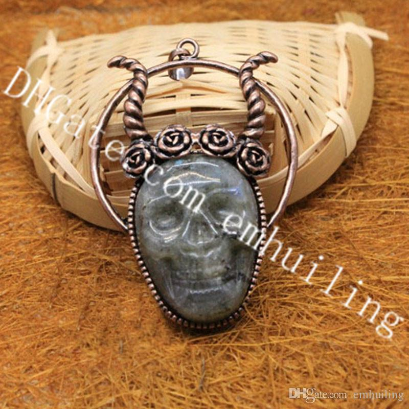 10Pcs Natural Gray Moonstone Shiny Labradorite Carved Spectrolite Stone Skull Pendants Set in Copper Bezel Fashion Jewelry Making Supplies