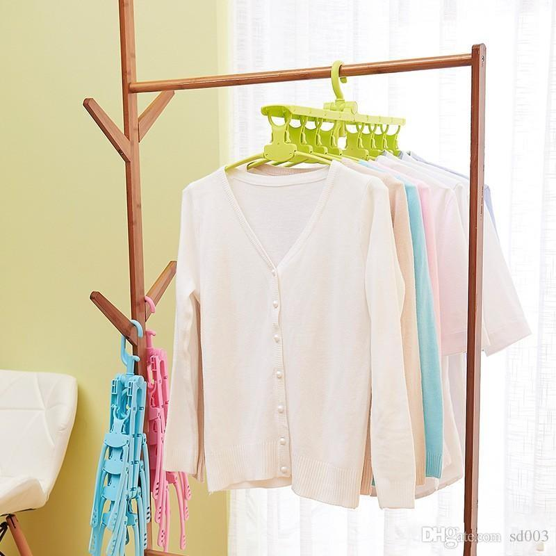 Telescopic Clothes Racks Flexible Hangers Multi Function Plastic 360 Degree Rotation Creative Collapsible Polychromatic Hot Sale 19 5bh ii