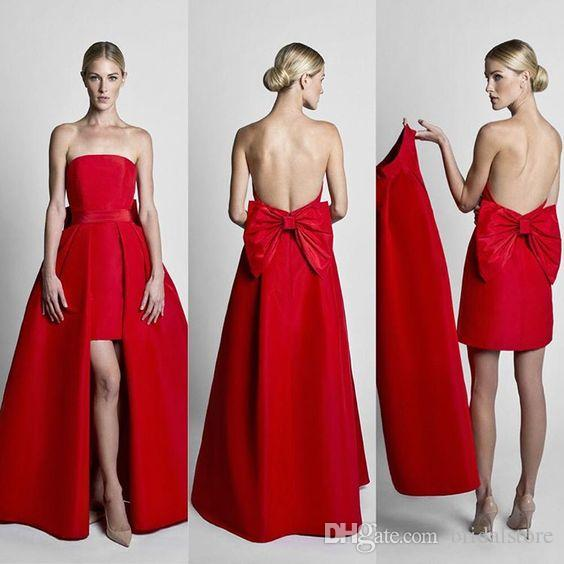 Charming Red Strapless Jumpsuit Prom Kleider High Low Backless Abnehmbarer Overskirt Abendkleider Plain 2019 Urlaub Retro Party Dress Bow