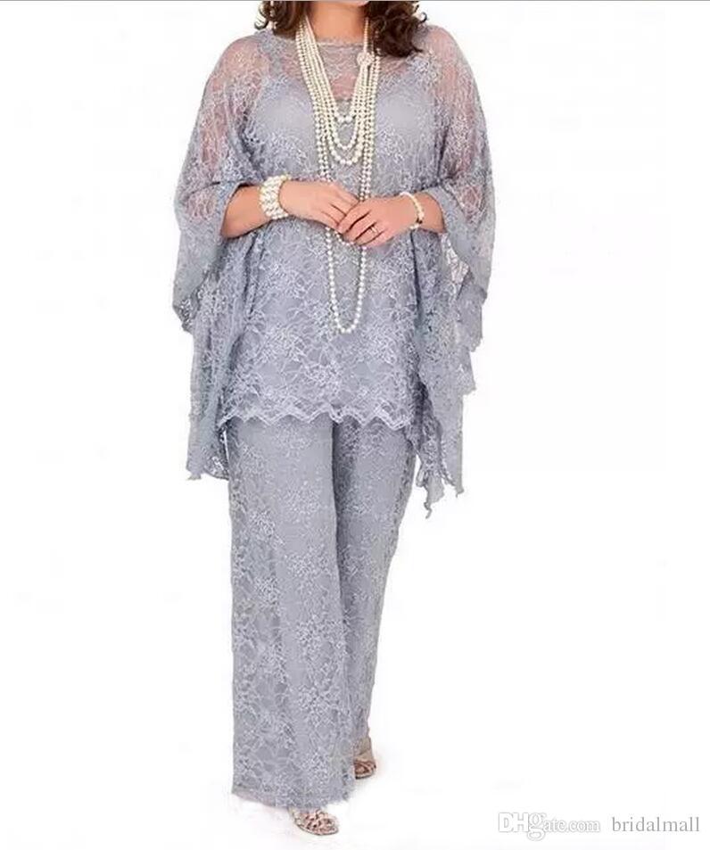 Talla grande encaje completo Madre de la novia trajes de pantalón 2020 Sheer manga larga tres piezas plata Formal novio madre vestidos ropa de noche