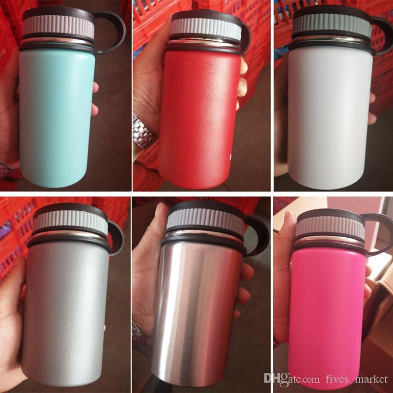 12 once bottiglia di acqua di vuoto isolato 304 bottiglia di acqua in acciaio inox bocca larga bottiglie di acqua di viaggio con coperchi di felpa tazza FHH7-1160A