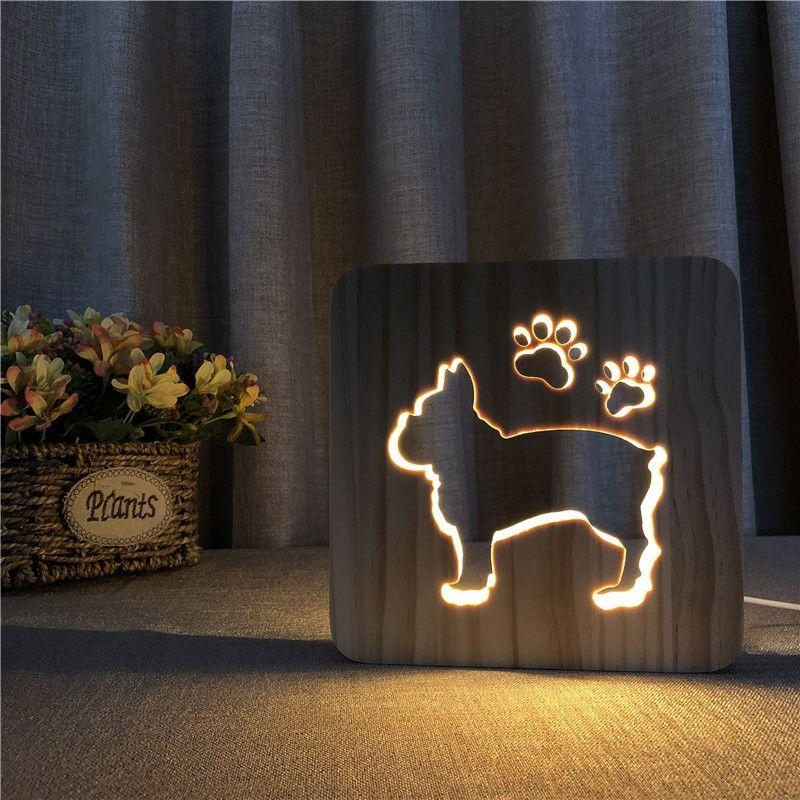 PERSONNALISÉS éclairage LED Lampe LED Lampe cadeau Bouledogue Français USB 3D Nuit bébé Chambre Décoration décor en bois Lumières cadeau FS-T1842