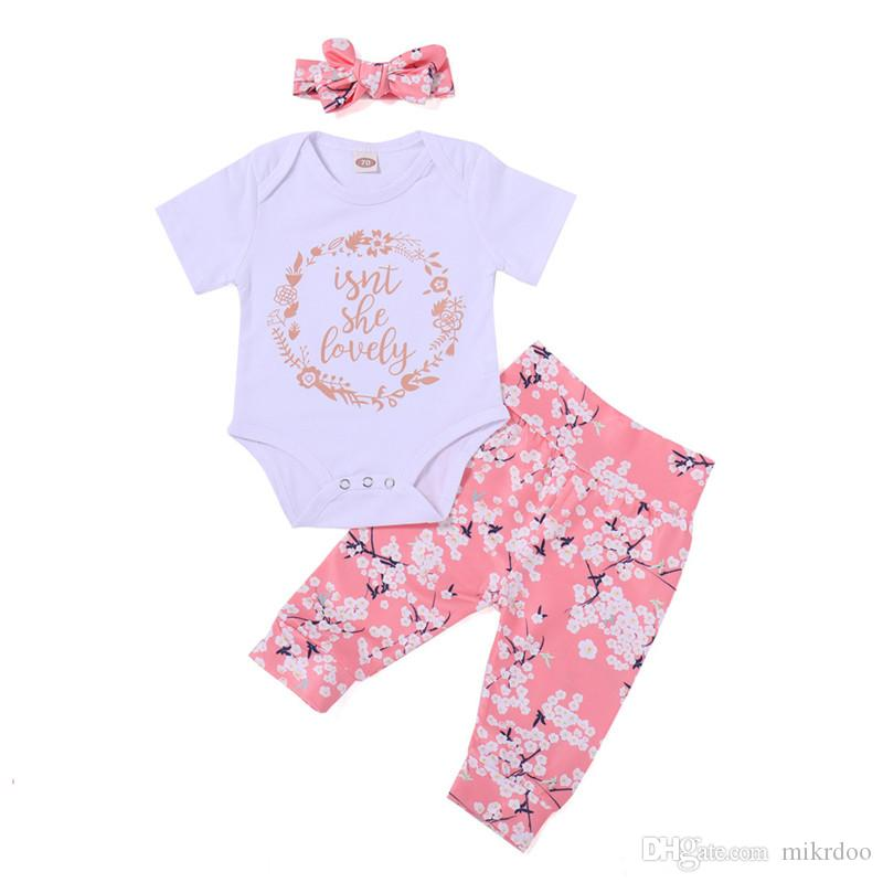 Mikrdoo 2018 Summer Baby Clothes White Short Sleeve Letter Printed Romper Floral Pant Headband 3PCS Outfit For 0-24M Sweet Cotton Cute Set