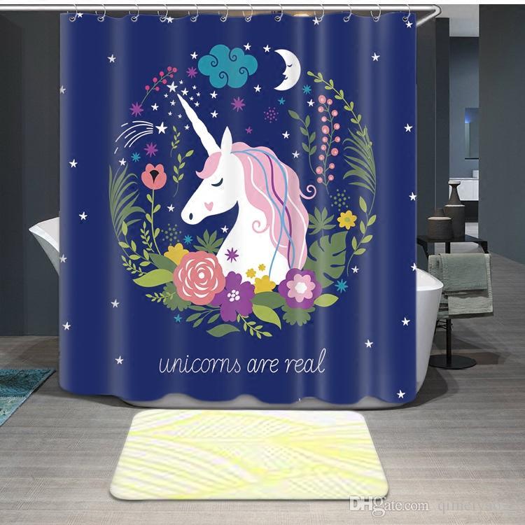 Unicórnios impressos cortinas de chuveiro com 12 ganchos à prova d 'água banheiro cortinas de alta qualidade poliéster banho cortina para decoração de casa