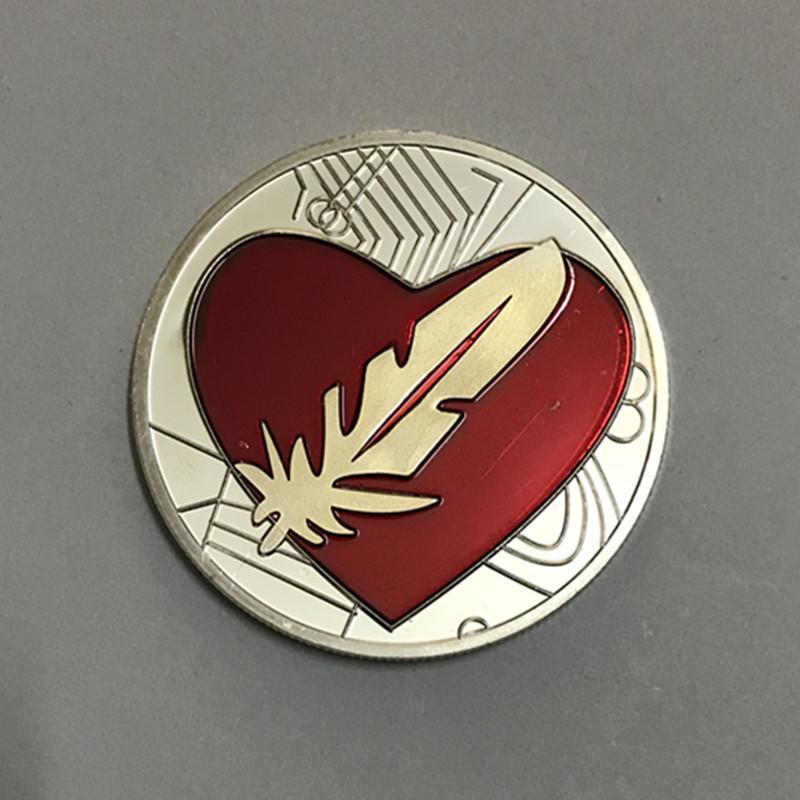 10 Adet için Tüy aşk gümüş kaplama rozeti sevgilisi ev üyesi 40mm aşk hediye hatıra sikke