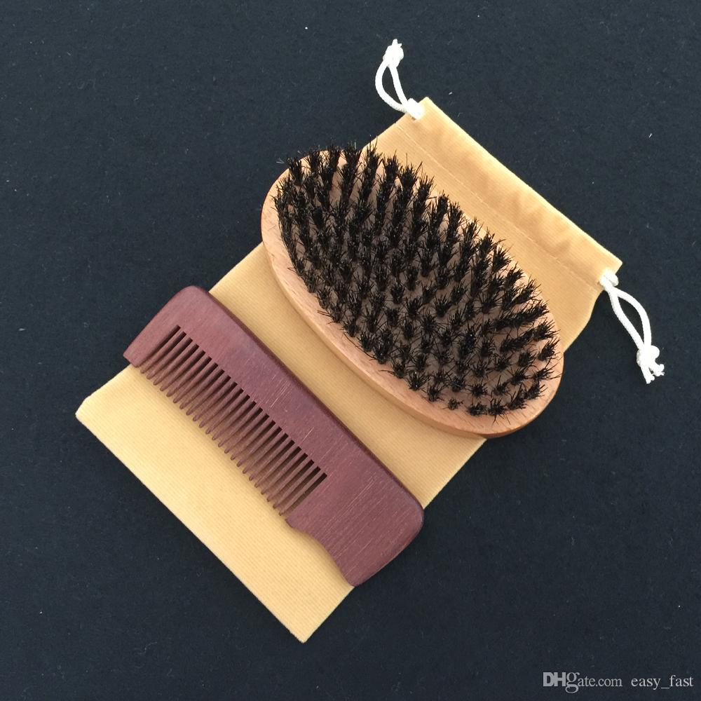 New 3in1 Boar Bristle Beard Brush & Wood Comb Cotton Bag Set Bearded Men Travel Carry Makeup Fashion Hair Care Styling Grooming Tool Company