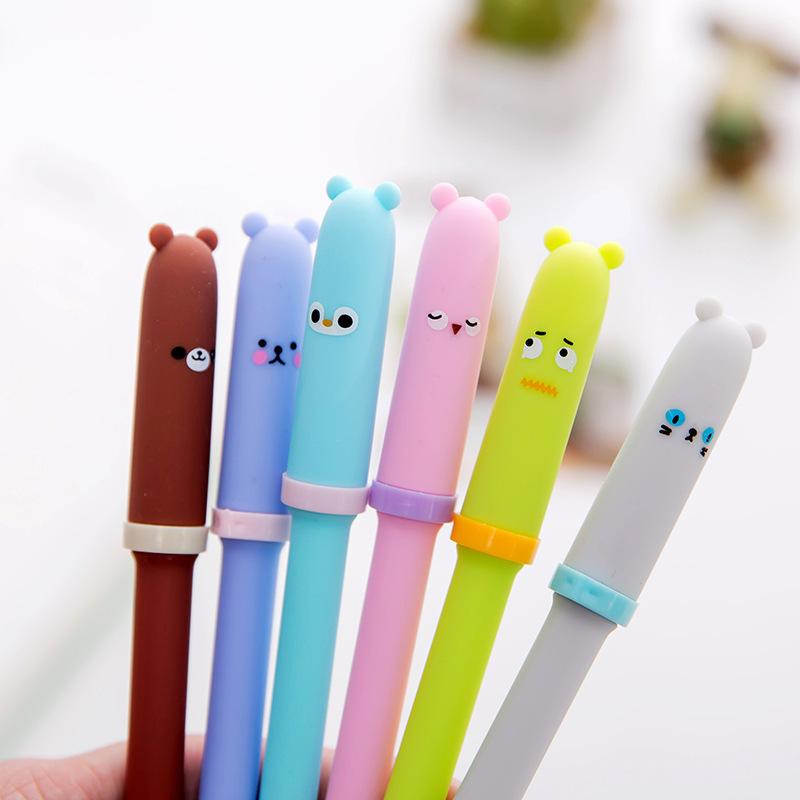 4 Pcs/lot Gel pen Neutral pen Cute Bear Black lnk pens Writting School Office stationery Lovely Students supplies Kawaii Gifts