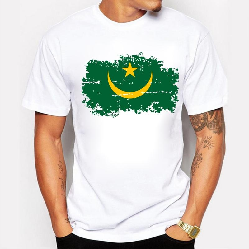 Mauritania National Flag Print T-shirt Men Fashion Cotton Brand Design Summer T-shirts Mauritania Flag Tops Tees