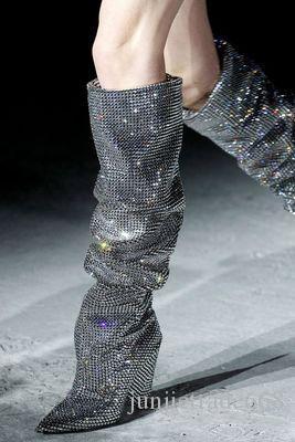En kaliteli yeni el yapımı yüksek üst diz üzerinde kadın çizmeler ile hakiki deri Kristal tam matkap lüks Çizmeler