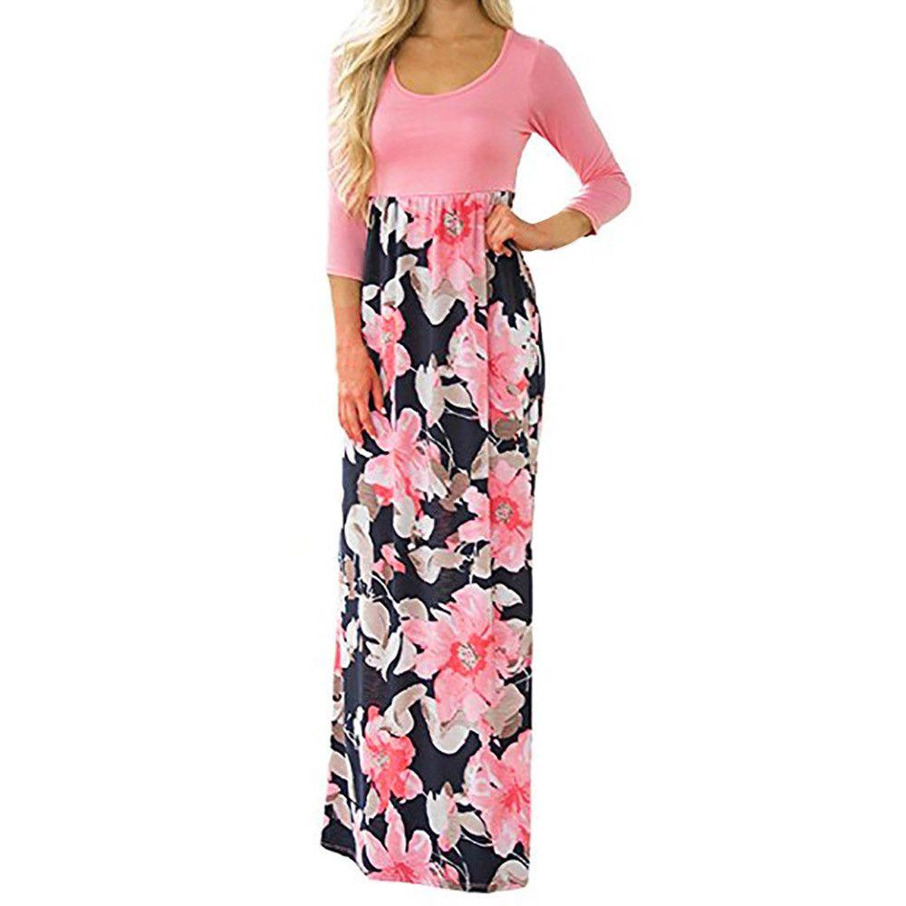 Frauen Sommerkleid Boho Strand Sommerkleid Damen Blumendruck Dreiviertel Ärmel Casual Tunika Lange Kleider 2018 vestidos verano