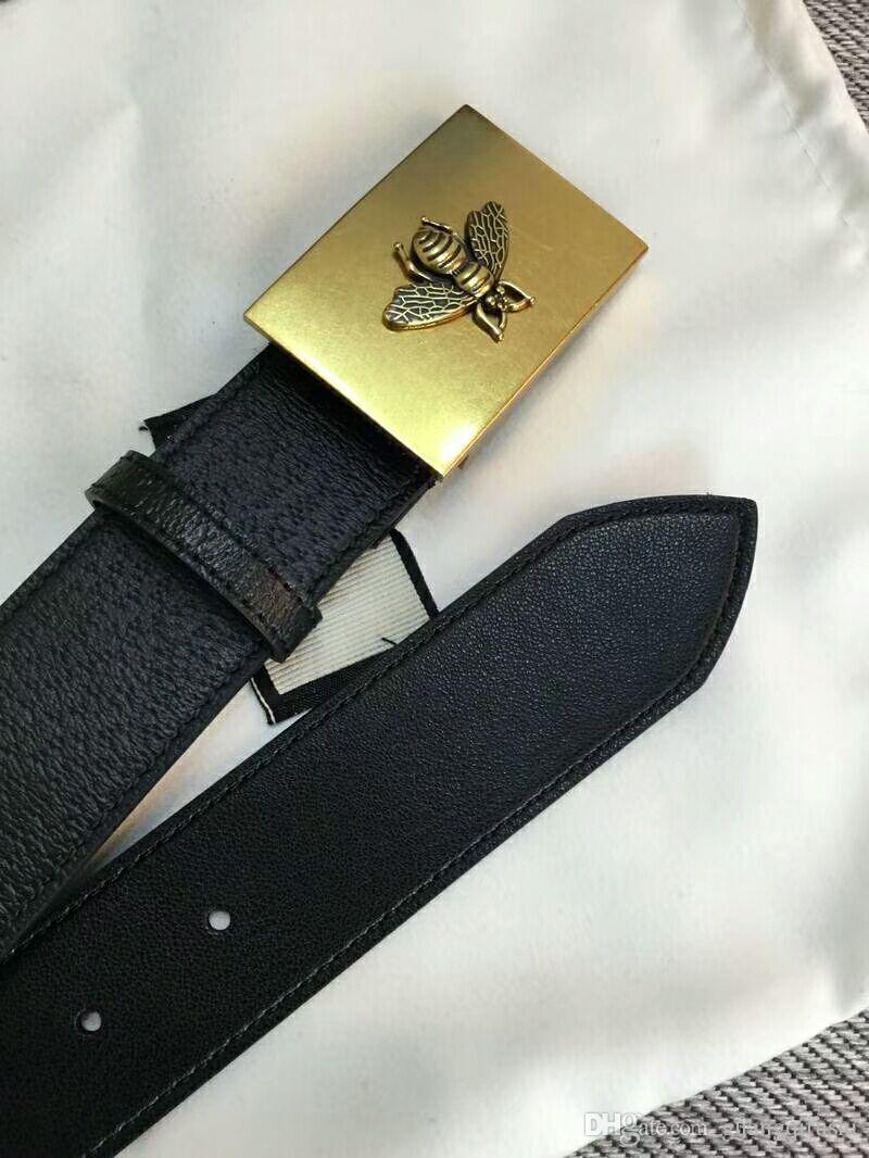 Высокое качество Золотой квадрат пряжки bee pattern дизайнер мужские ремни личи ремень из натуральной кожи ремень с коробкой