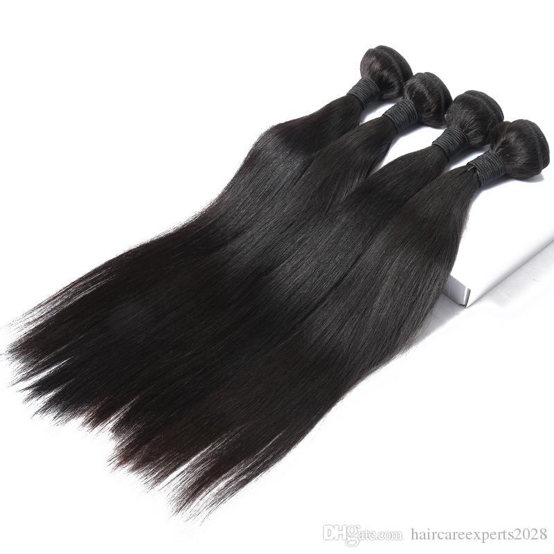 Elibess haarstraal zwart Menselijk haar inslag 8A rechte golf 100g / pcs 3 bundels / partij menselijk haar weven