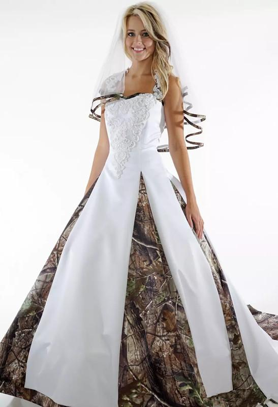 Discount New Plus Size Camouflage Ball Gown Wedding Dresses White ...
