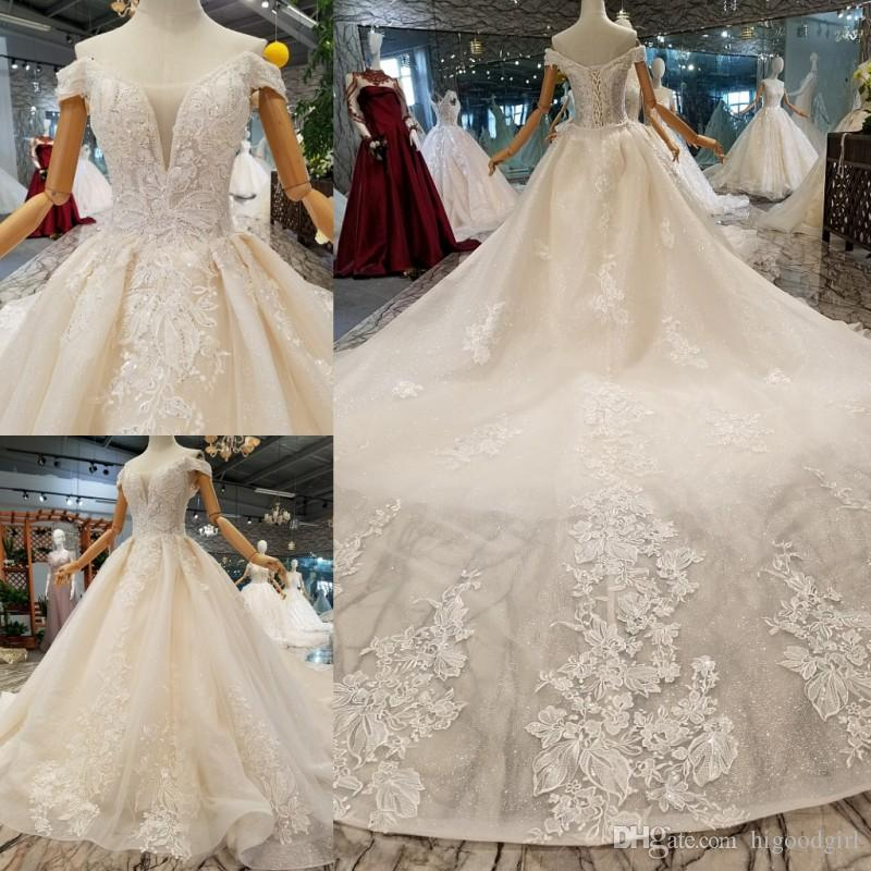 2019 Real sample Ball Gown extravagant Off Shoulder Lace Applique Organza Beaded Wedding Dresses In Stock