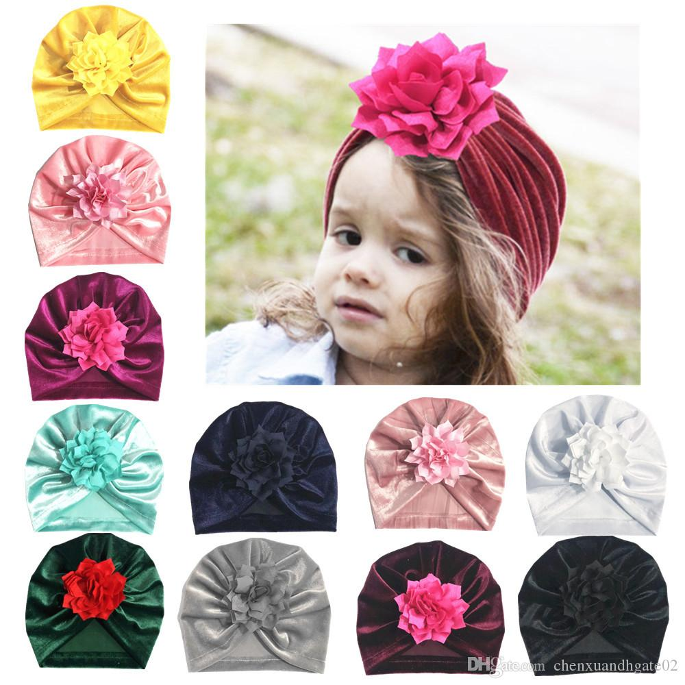New Fashion Flower Baby Hat Newborn Elastic Baby Turban Hats for Girls 10 Colors Cotton Infant Beanie Caps