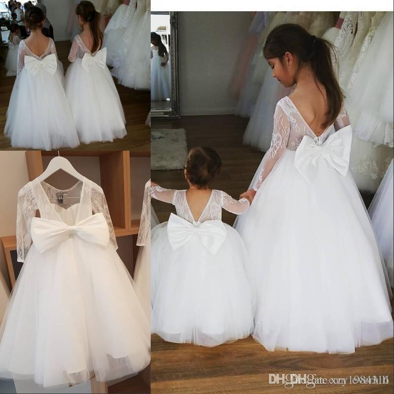 Long Sleeve White Kids Girl Dresses First Communion 2018 Big Bow Lace Jewel Flower Girls Dresses for Weddings Floor Length Pageant Dresses