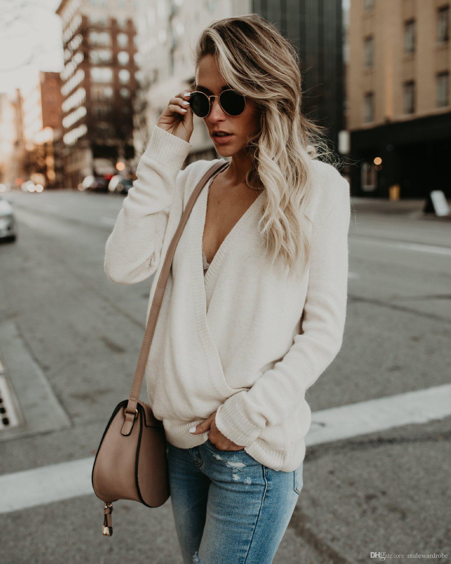 Frauen Wollpullover mit V-Ausschnitt Sexy Frontseiten-Kreuz Herbst-Winter-Tops Sweater