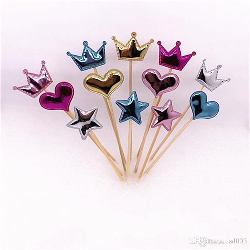Cake Flags Plugged Love Five Pointed Star Crown Cupcake Children Birthday Decoration Parts Party Bardian Kitchen Tools 1 1lj dd